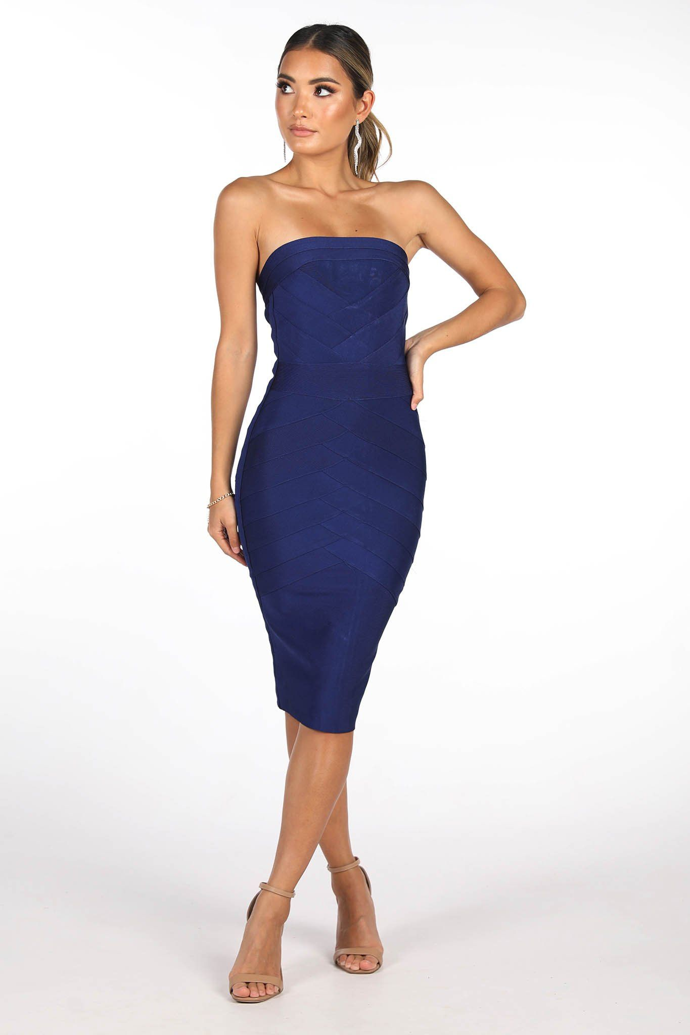 Deep Navy Blue Fitted Midi Bandage Dress in Square Straight Neckline Design and Full Back Zipper