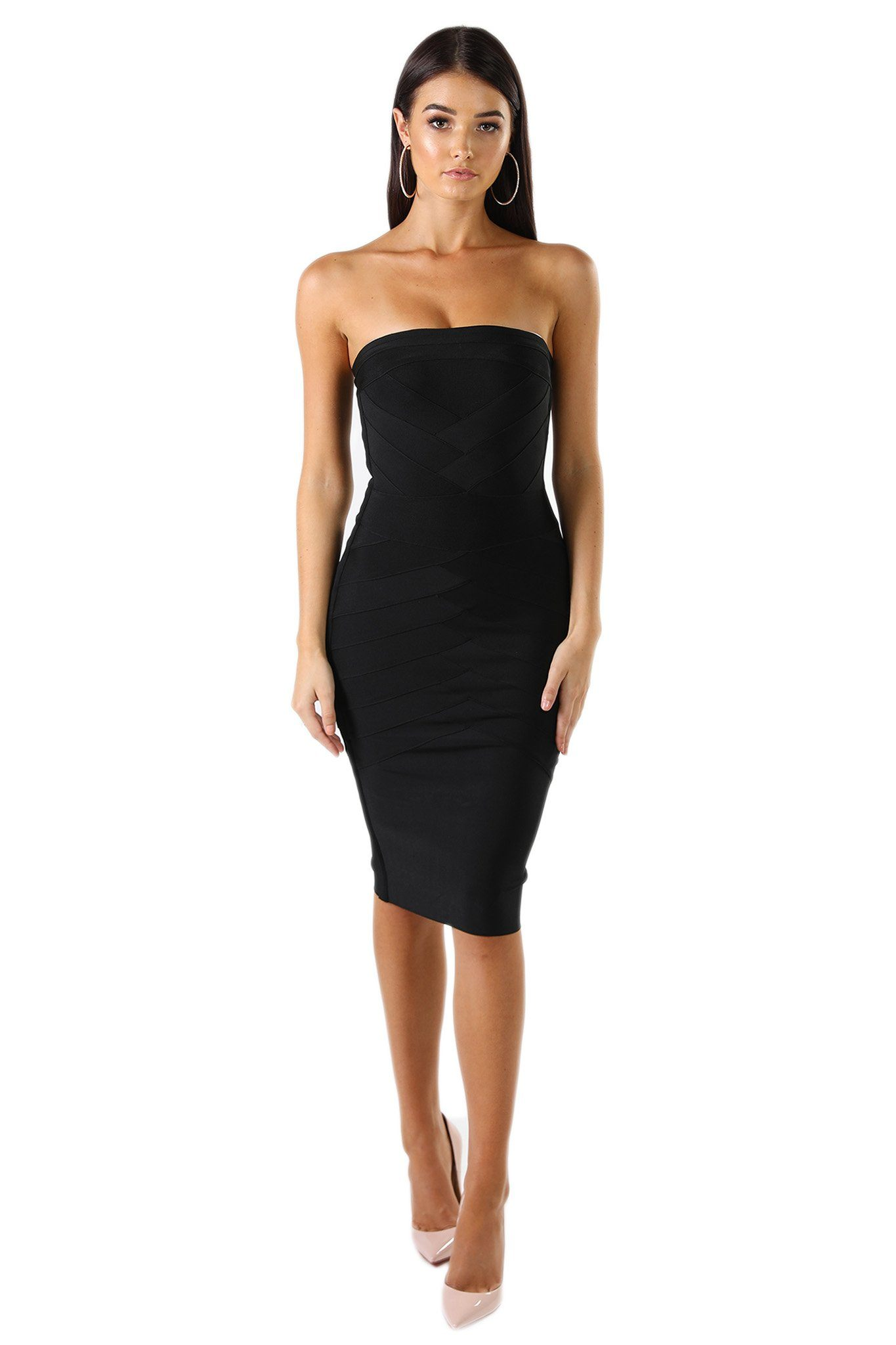 Black strapless knee length bandage dress straight neckline