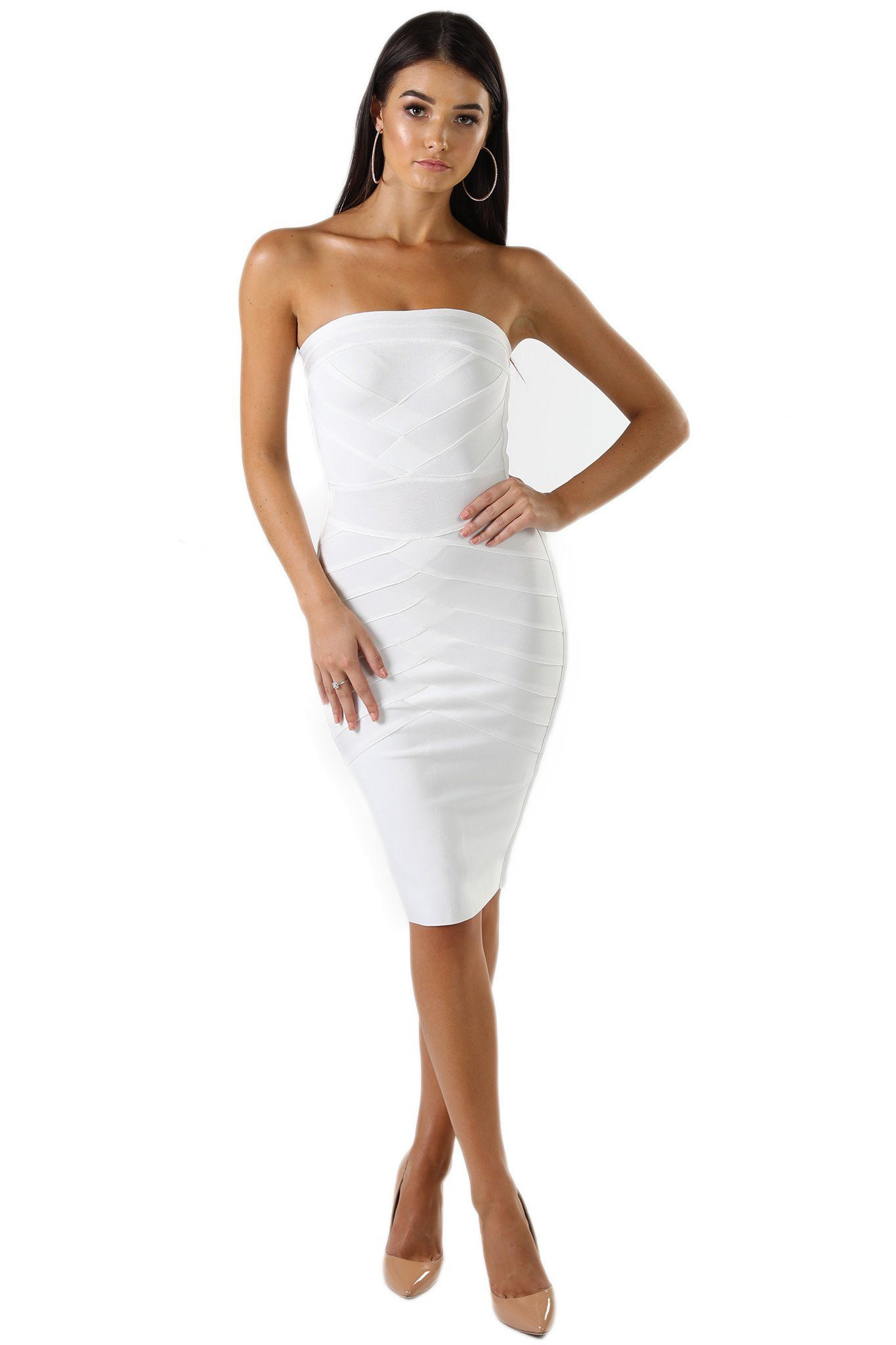 White strapless knee length bandage dress straight neckline