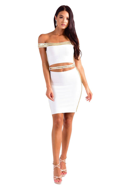 Jennifer Dress - White/Gold