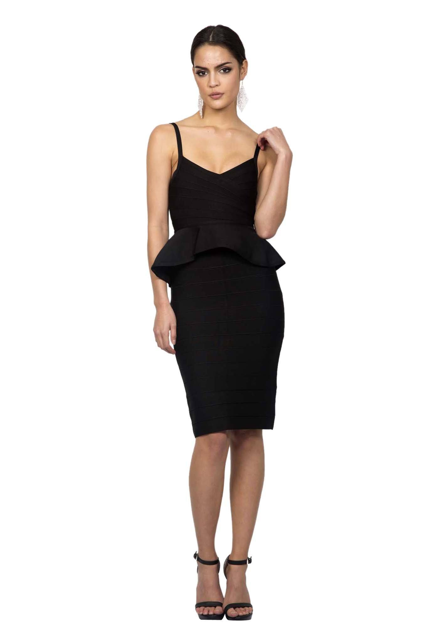 Black two-piece matching bandage set including fluted hem sleeveless v neck top thin straps and midi pencil skirt