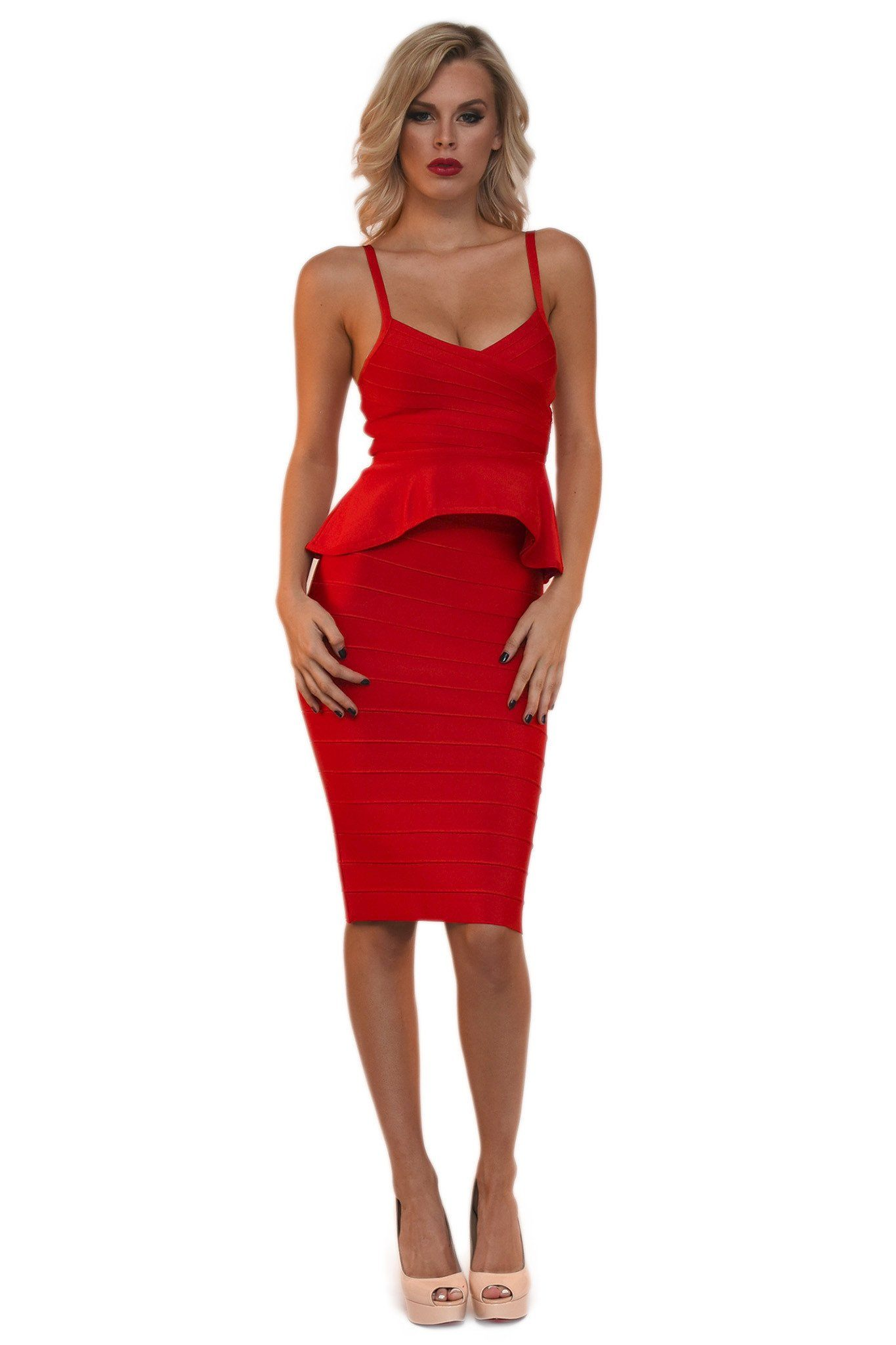 Red matching bandage set of sleeveless peplum top spaghetti straps and a midi pencil skirt