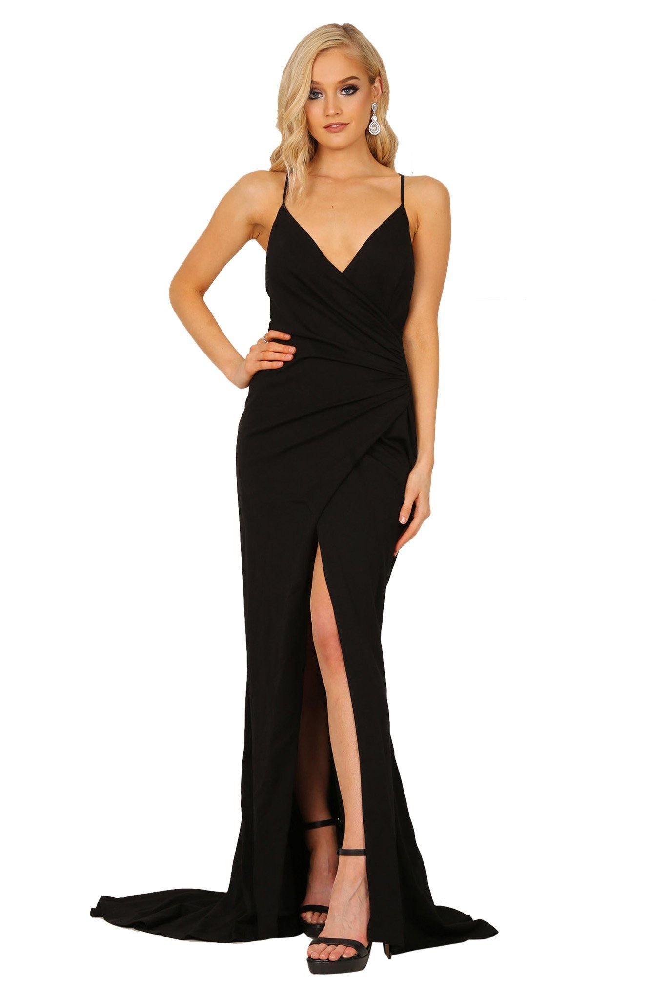 Black faux wrap maxi dress with v neckline, crisscross back straps, high front slit and long train