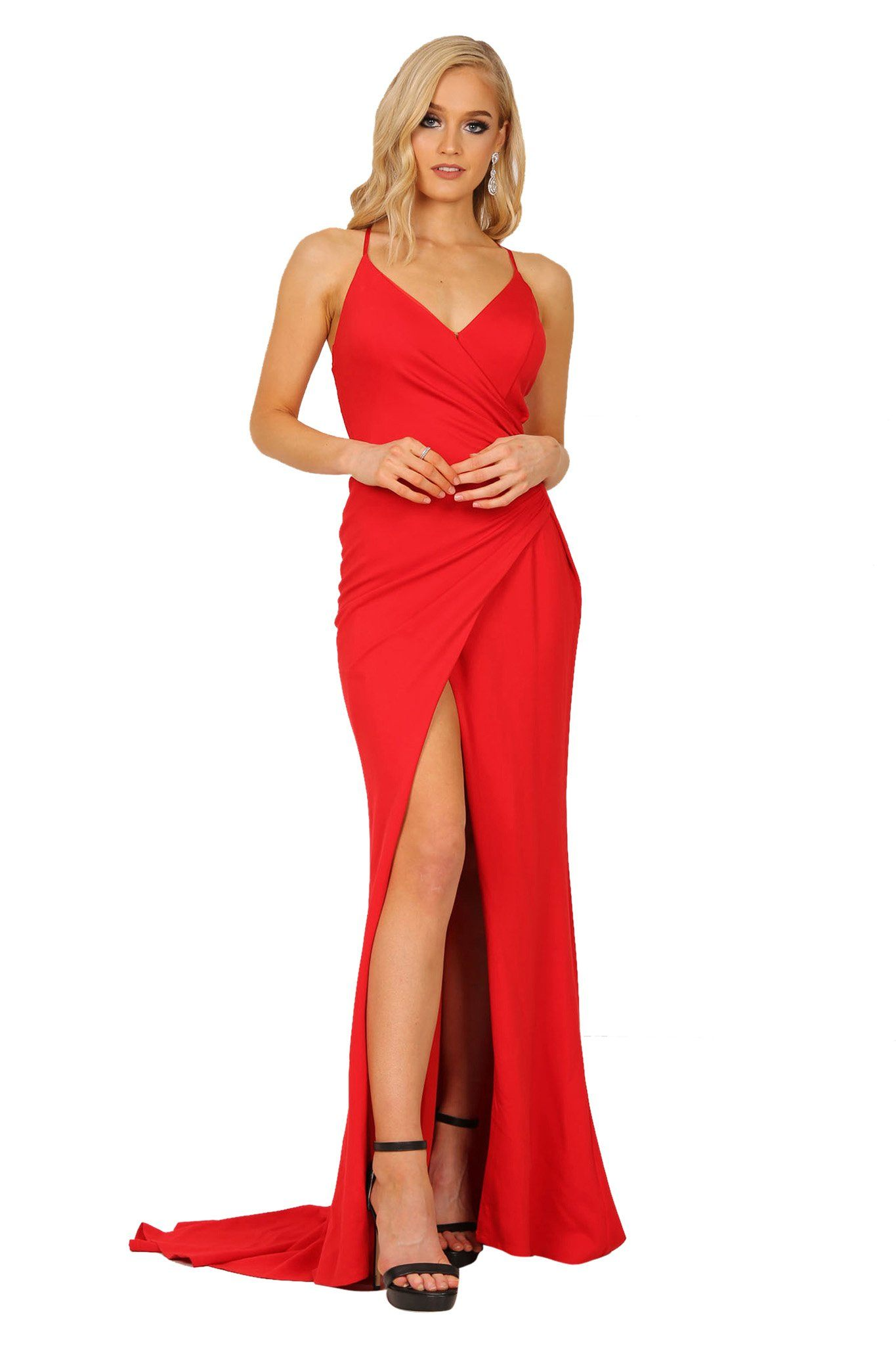 Red faux wrap maxi dress with v neckline, crisscross back straps, high front slit and long train