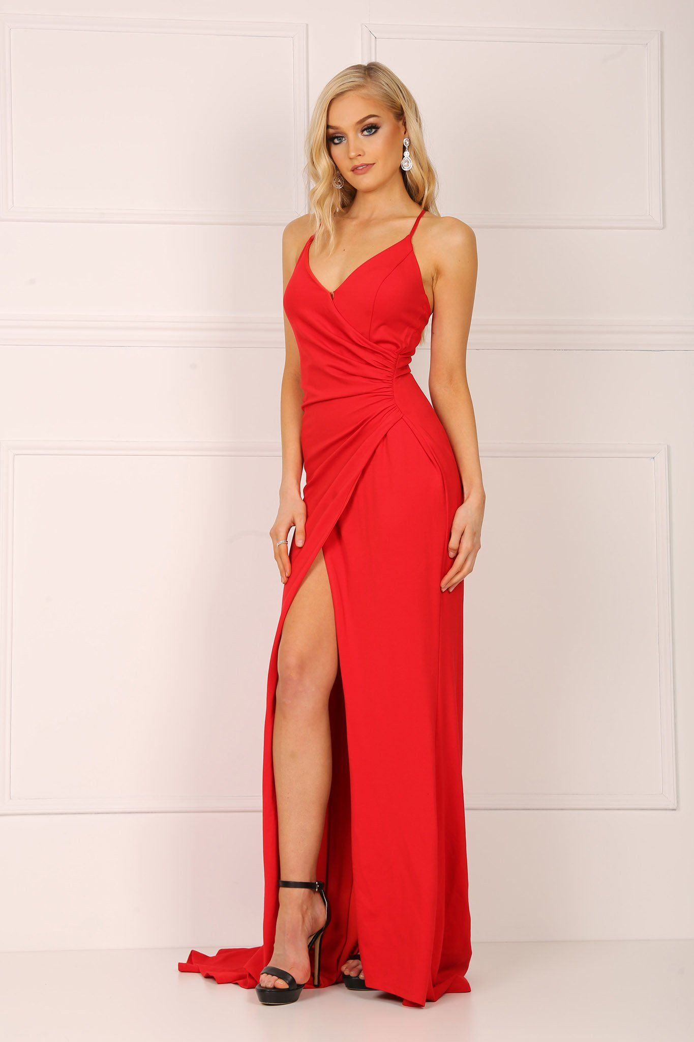 4a2810ff5ae8 ... Red faux wrap maxi dress with v neckline