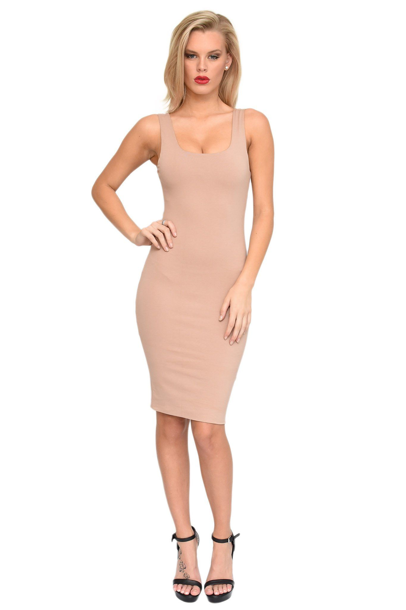 Beige basic sleeveless bodycon knee length dress square neckline shoulder straps