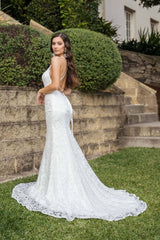 White Lace Wedding Formal Long Trumpet Gown with High Neck Thin Straps, Lace Up Back and Long Train