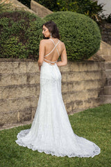Lace Up Back and Long Train Design of White Lace Wedding Formal Long Trumpet Gown with High Neck Thin Straps