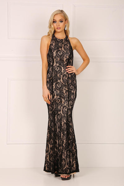 Julianna Lace Maxi Dress - Black/Beige