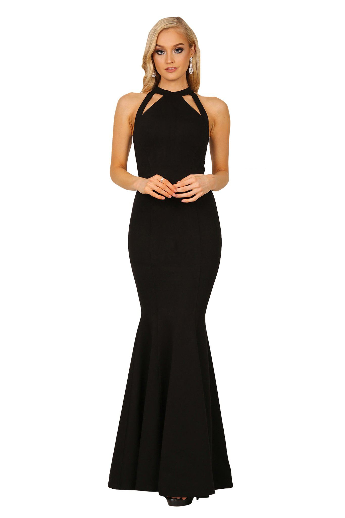 Front of Black bodycon sleeveless maxi floor length gown with cutouts and mermaid fishtail skirt