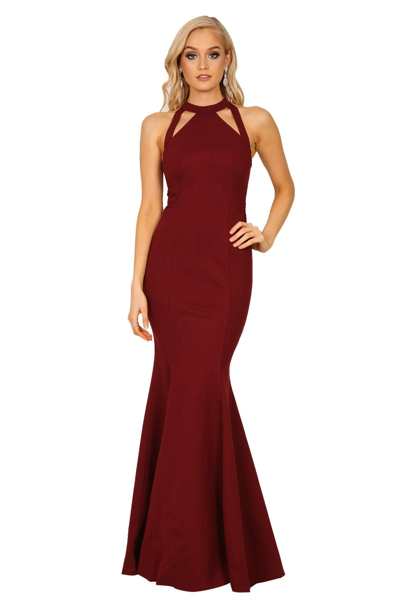 Front of Wine Red bodycon sleeveless maxi floor length gown with cutouts and mermaid fishtail skirt
