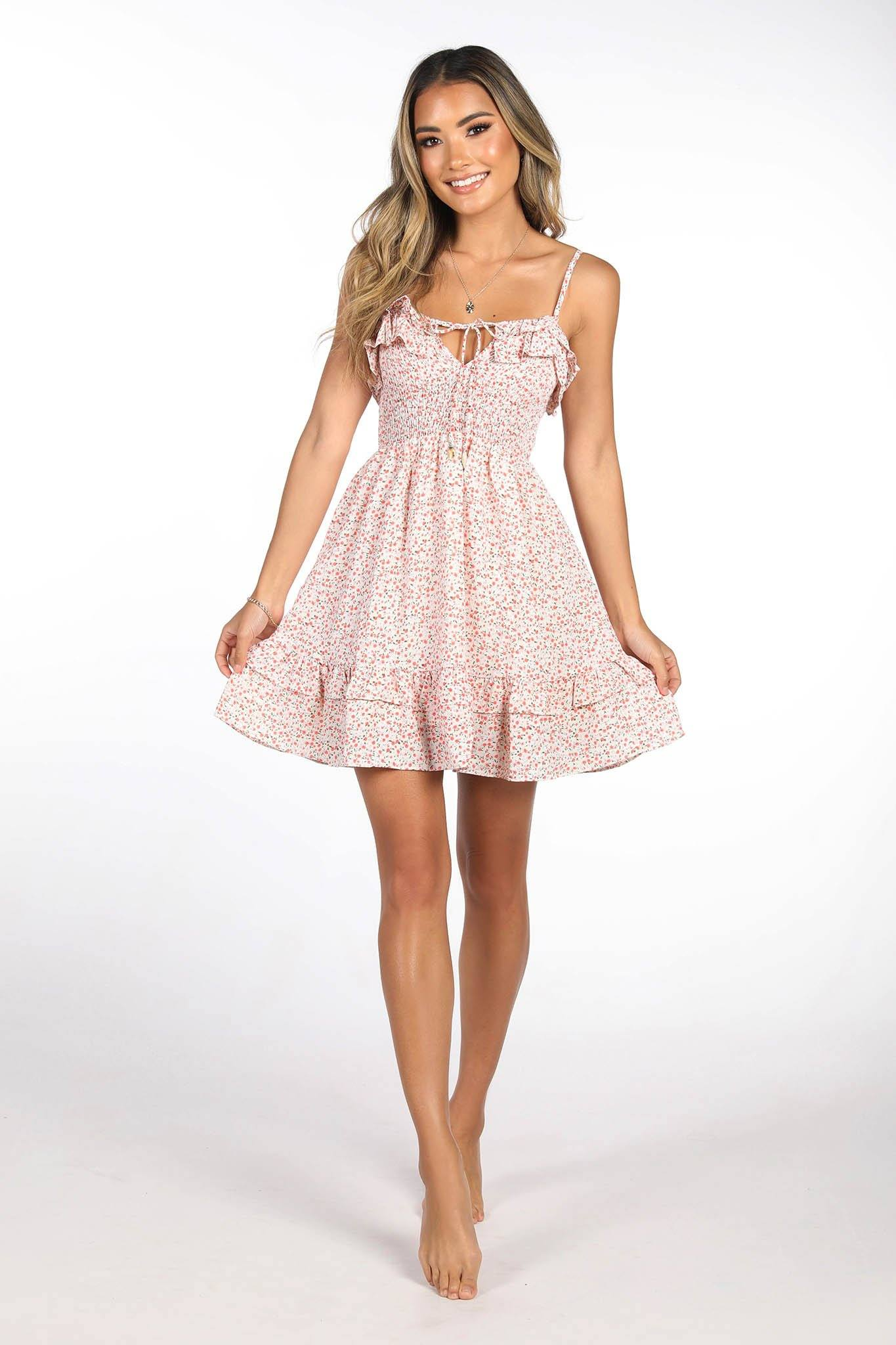 Rose Floral Print Mini Summer Dress with Frilled Hemline and Self Tie Strings at Bust