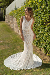 White Embroidered Pattern Sequin with Nude Lining Floor Length Sleeveless Evening Dress with V-Neckline and Mermaid Skirt