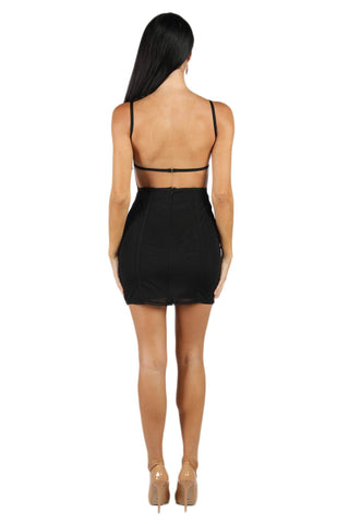 Kelly Mesh Mini Bandage Dress in Black