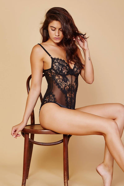 Khloe Lace Bodysuit - Black