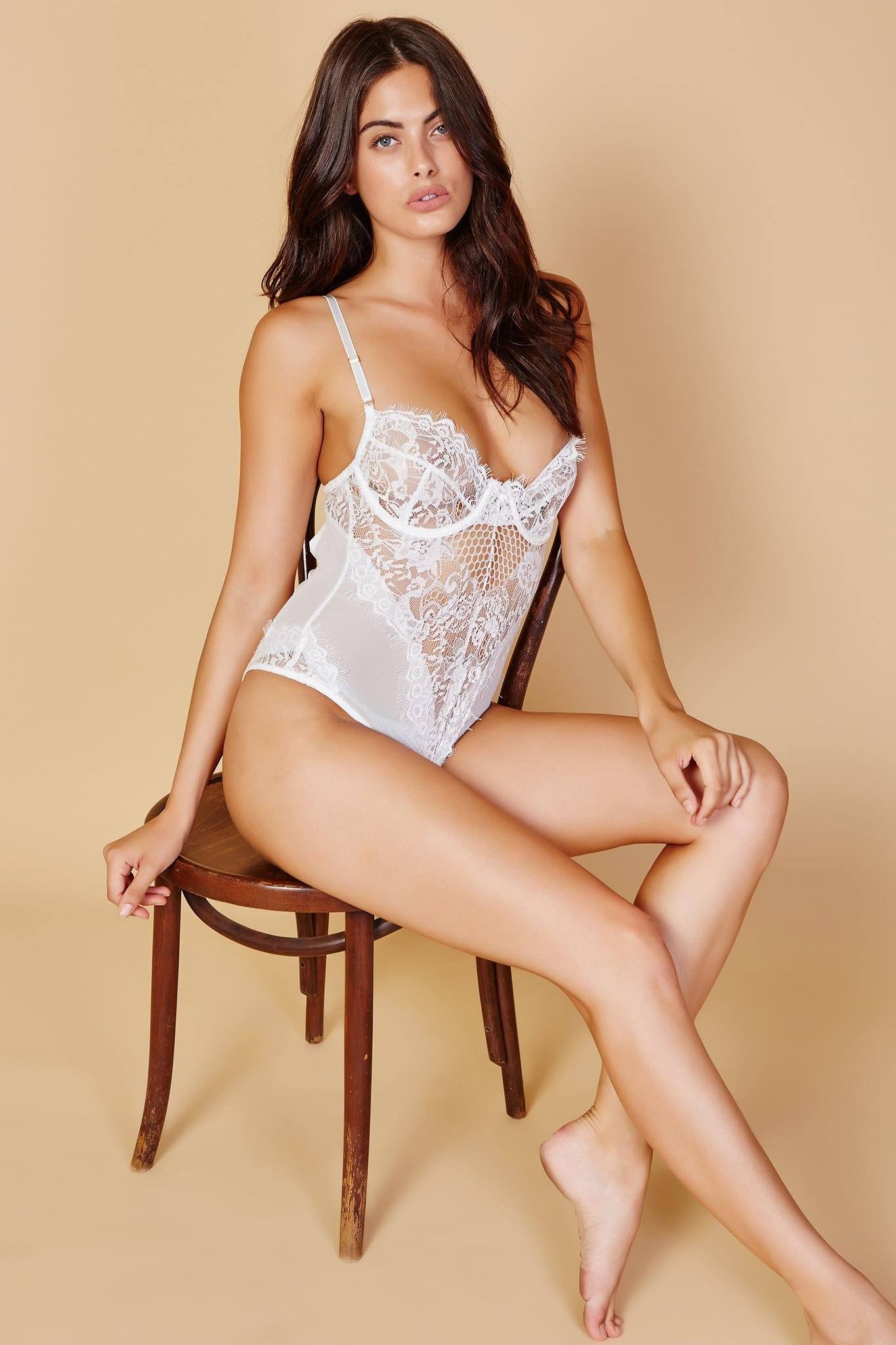 White sheer lace bodysuit