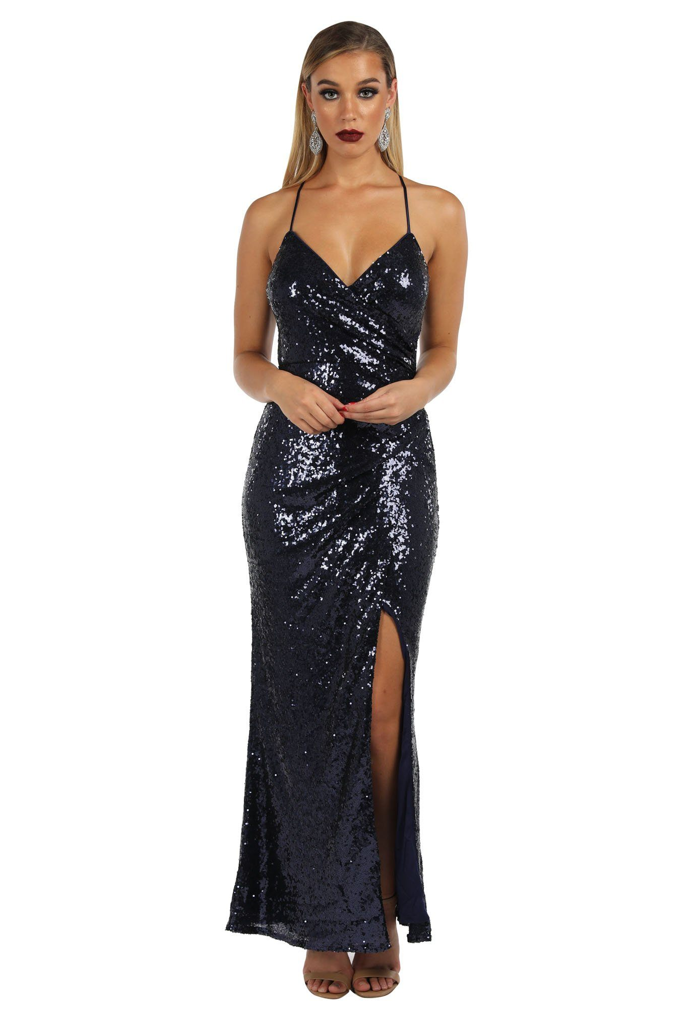Matte deep navy blue colored sleeveless sequinned maxi dress with faux wrap design, v neckline, front split and adjustable crisscross back thin straps
