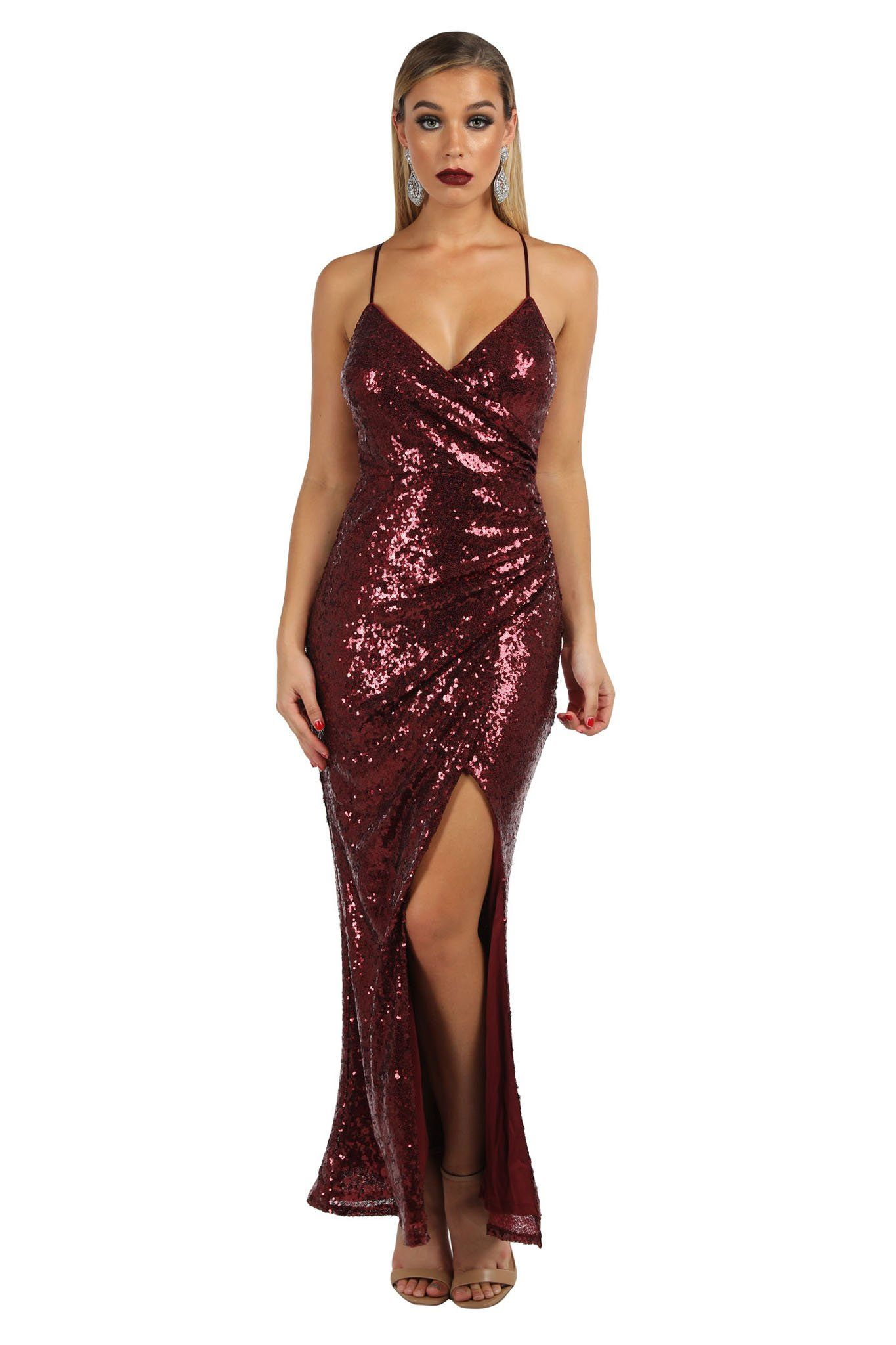 Matte deep red burgundy colored sleeveless sequinned maxi dress with faux wrap design, v neckline, front split and adjustable crisscross back thin straps