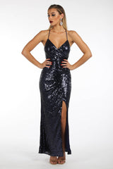 Kimora Sequin Maxi Dress - Navy