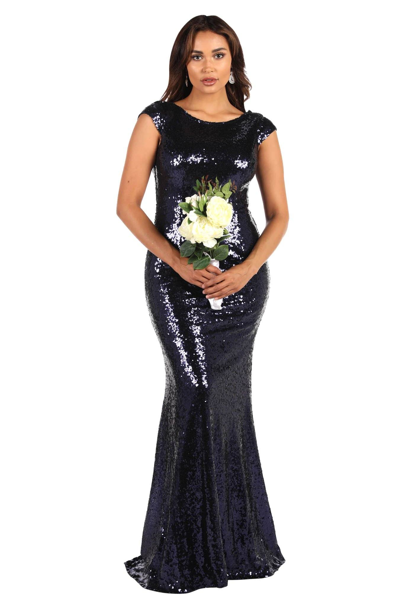 Navy Dark Blue Sequin Bridesmaid Maxi Dress with Boat Neckline and Cowl Back Design