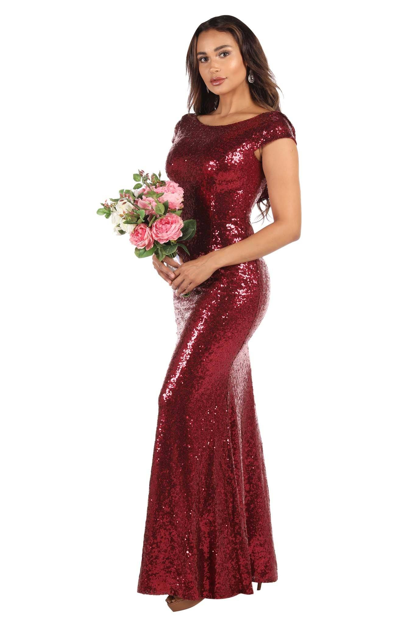 Burgundy Wine Red Coloured Sequin Bridesmaid Maxi Dress with Boat Neckline and Cowl Back Design