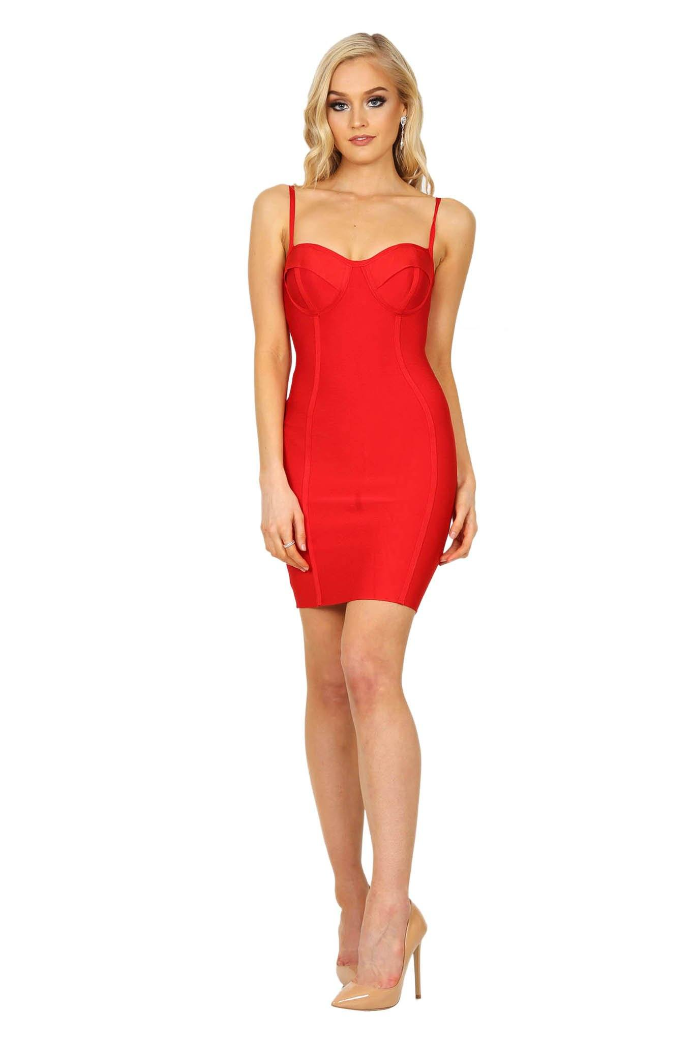 Red mini bandage dress with subtle sweetheart neckline and thin adjustable straps