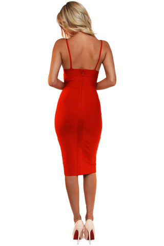 Kylie Midi Bandage Dress - Red
