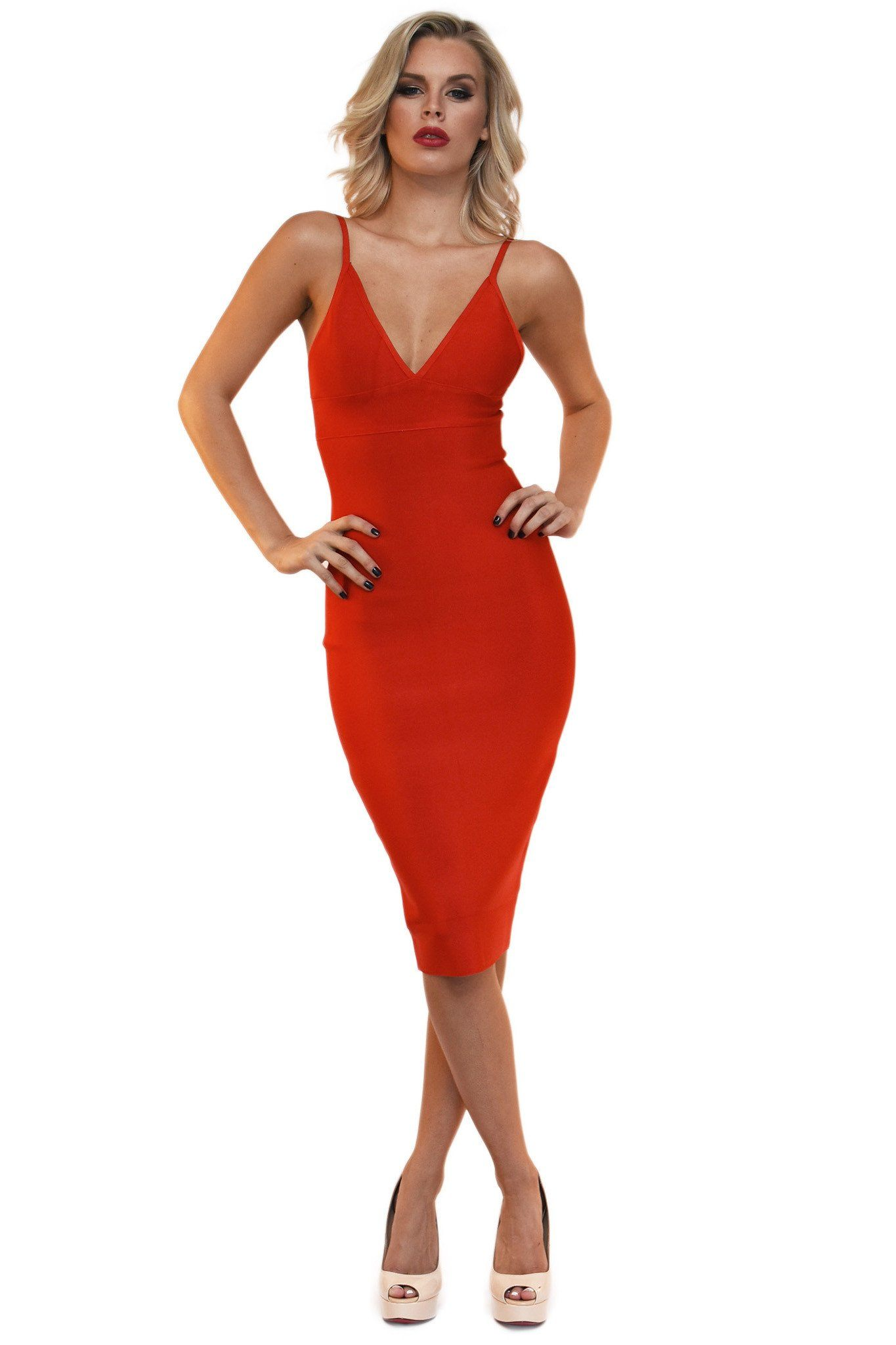 Front of red midi bodycon bandage dress deep V neck thin shoulder straps