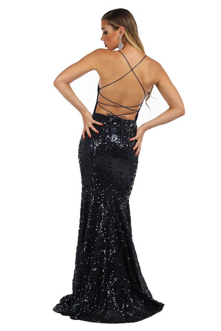Leona Sequin Beaded Lace Up Gown - Navy