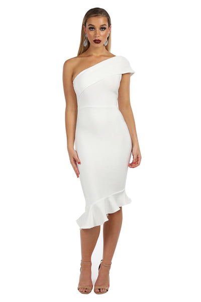 LOLA One Shoulder Peplum Dress - White