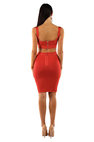London Ribbed Bandage Two-Piece Set - Burnt Orange