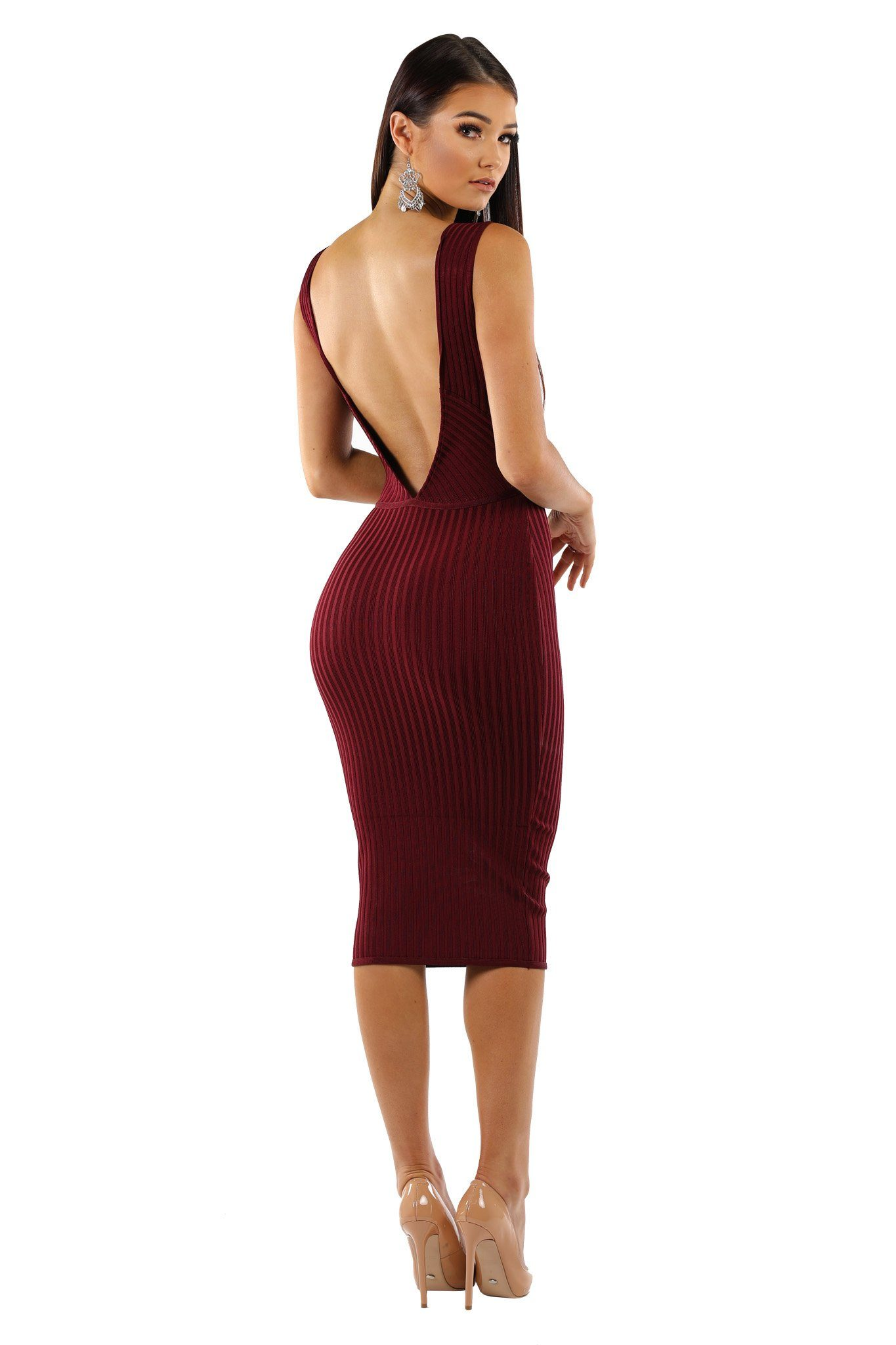 Burgundy below-knee length sleeveless ribbed lightweight bandage dress deep v neck open v-backless design