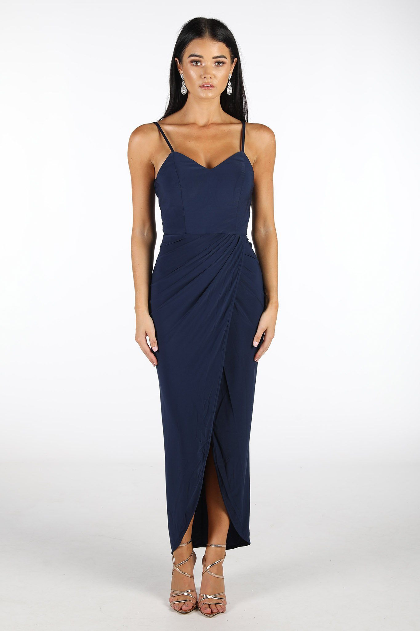 Navy Dark Blue Dress with Faux Wrap Front Design and Asymmetrical Slim-Fit Skirt with Centre Split