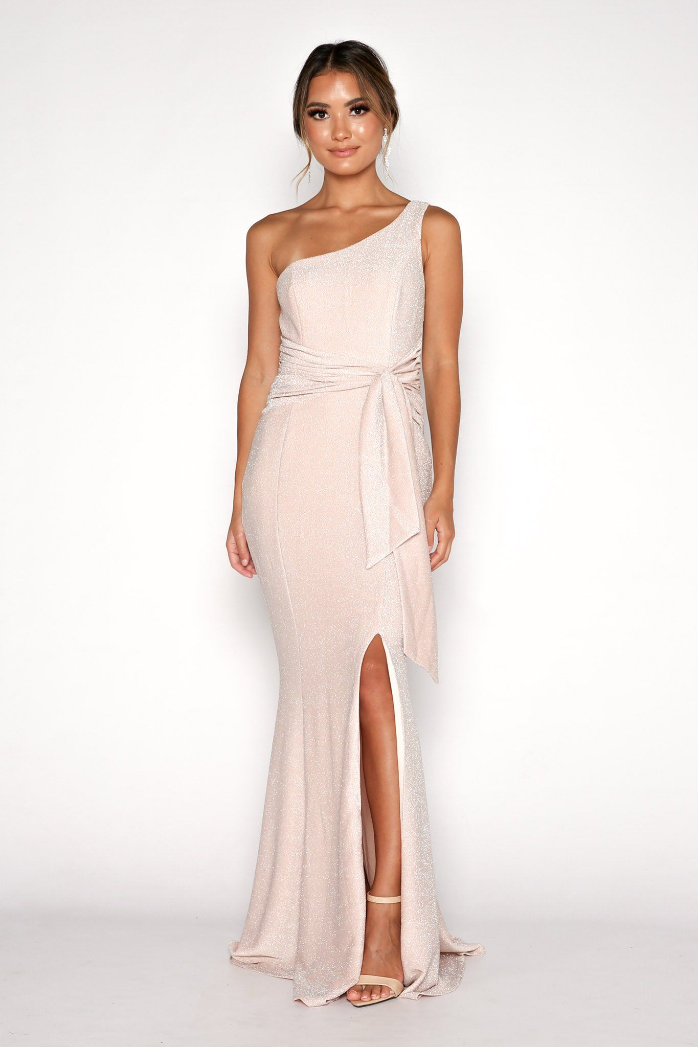 Lena One Shoulder Maxi Column Dress - Shimmer Nude