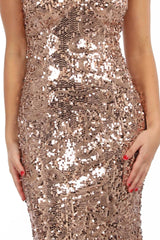 Leona Sequin Beaded Lace Up Gown - Rose Gold
