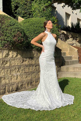 White Lace Wedding Formal Long Trumpet Sleeveless Gown with High Neckline and Long Train