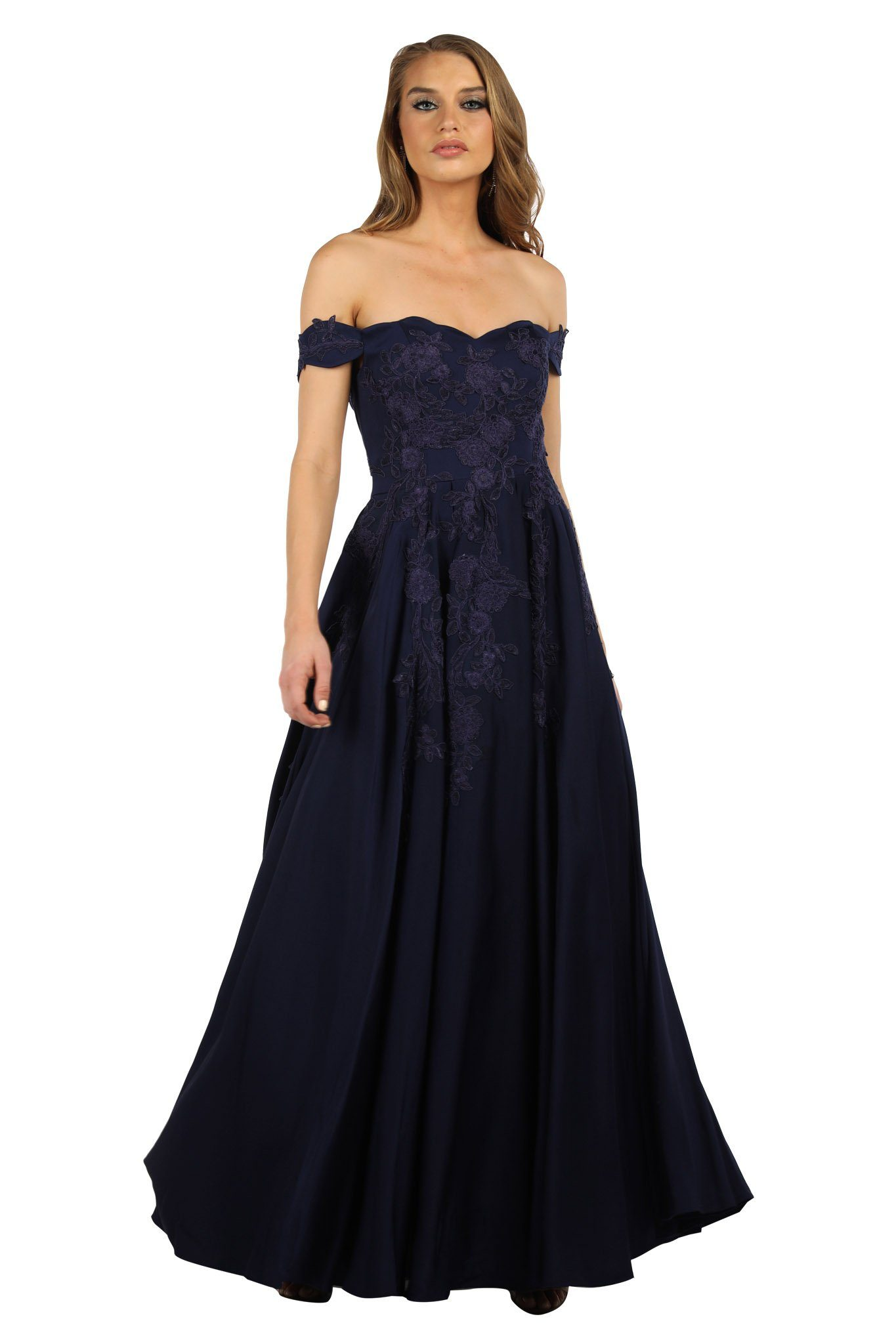 Navy deep blue ball gown in strapless off-shoulder sweetheart neckline, cap sleeves, lace detailing, open back, A-line flared floor-length skirt