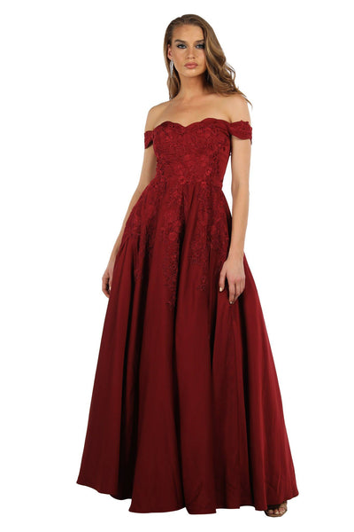 Lily Off The Shoulder Ball Gown - Burgundy