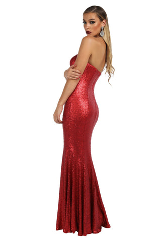Lita Strapless Sequin Gown - Red