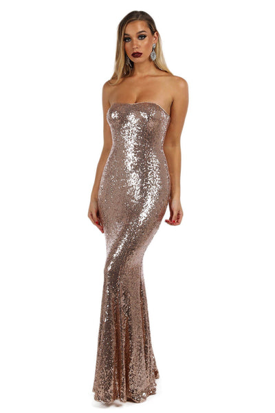 Lita Strapless Sequin Gown - Rose Gold