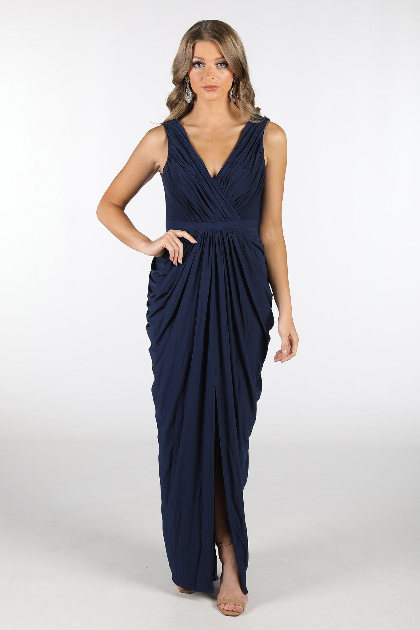 Navy Deep Blue Maxi Dress featuring crossover V neckline, tiered slim skirt with front split