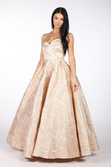 Metallic Gold Full Length Ball Gown with Strapless Neckline and Pleat and Folded Panel Detailing and a Full A Line Skirt