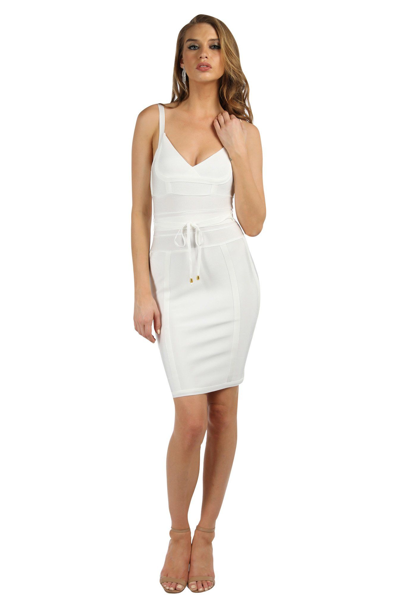 White mini sleeveless bandage dress with thin shoulder straps, thin removable bandage sash with gold hardware, and full-length back zipper