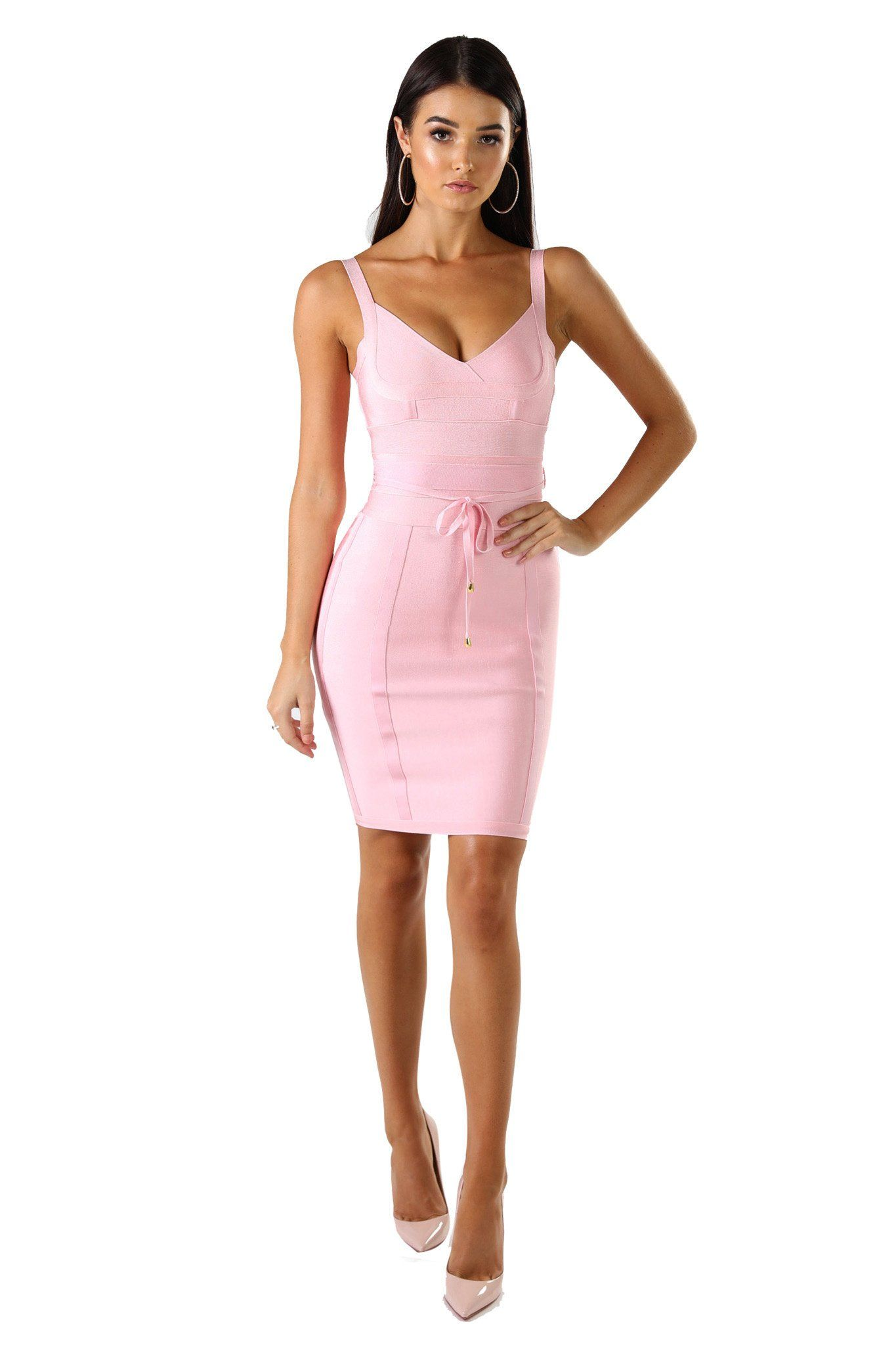 Baby pink mini sleeveless bandage dress with thin shoulder straps, thin tie up bandage belt, and full-length back zipper