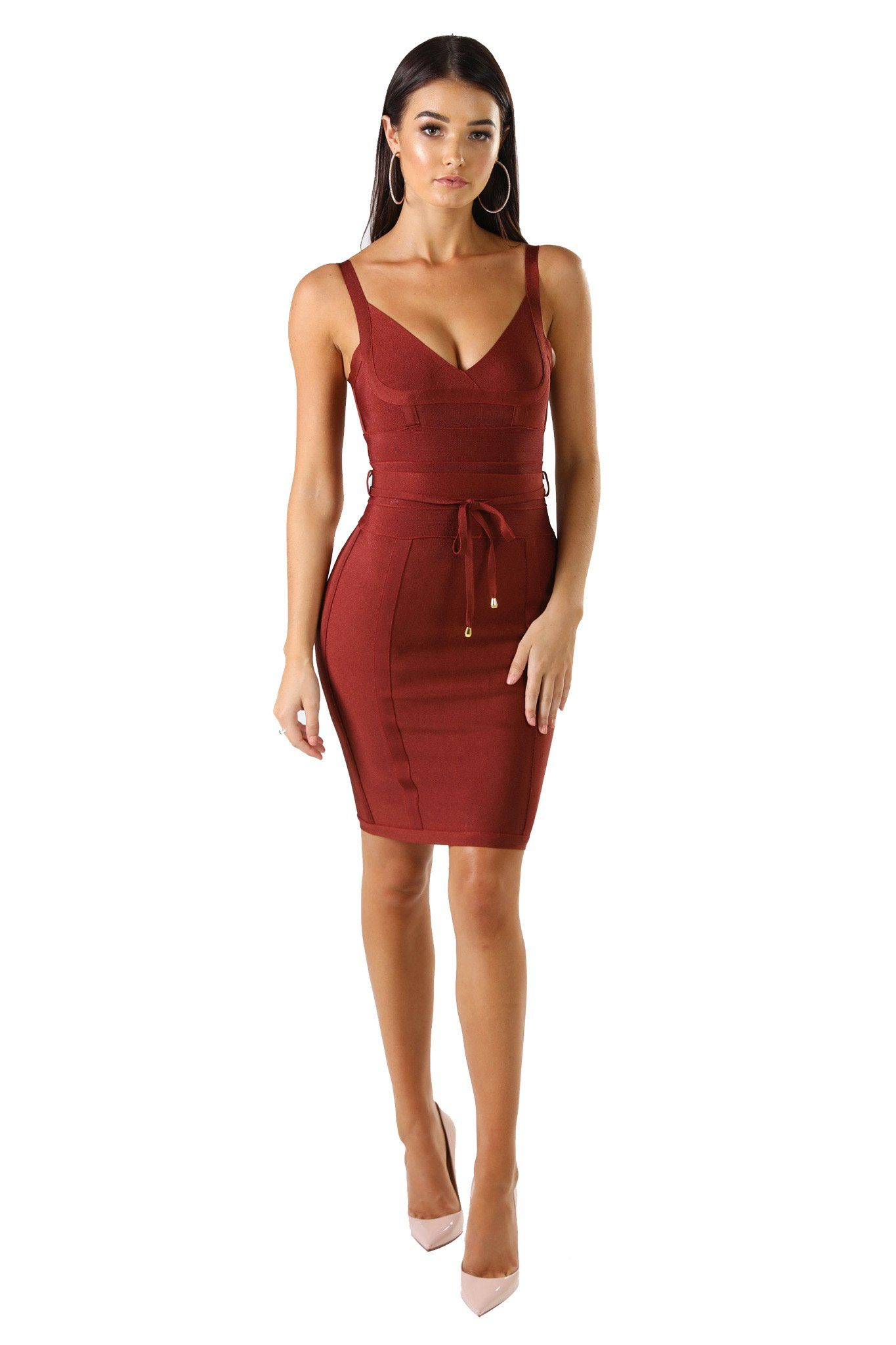 Maroon colored mini sleeveless bandage dress with thin shoulder straps, thin tie up bandage belt, and full-length back zipper