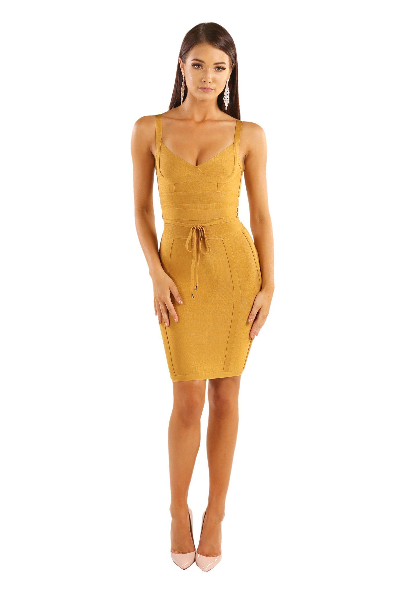 Mustard ginger colored mini sleeveless bandage dress with thin shoulder straps, thin removable belt, and full-length back zipper
