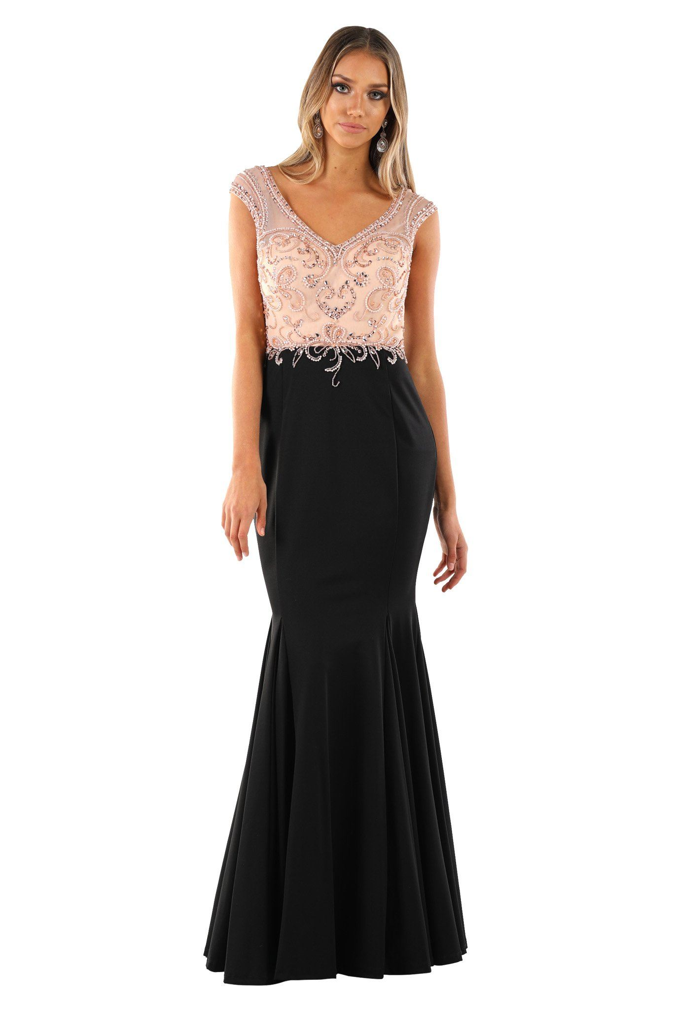 MIRIAM Beaded Gown - Peach/Black (Size S - Clearance Sale)
