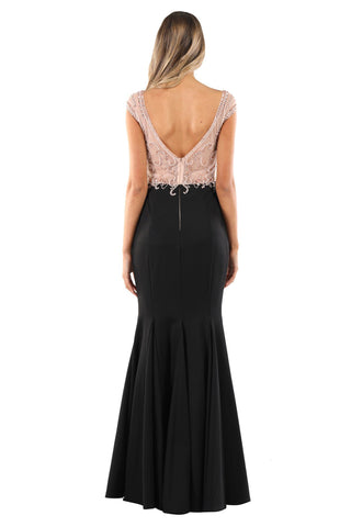 MIRIAM Beaded Gown - Peach/Black