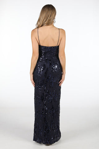 Madeline Front Split Sequin Maxi Dress - Navy