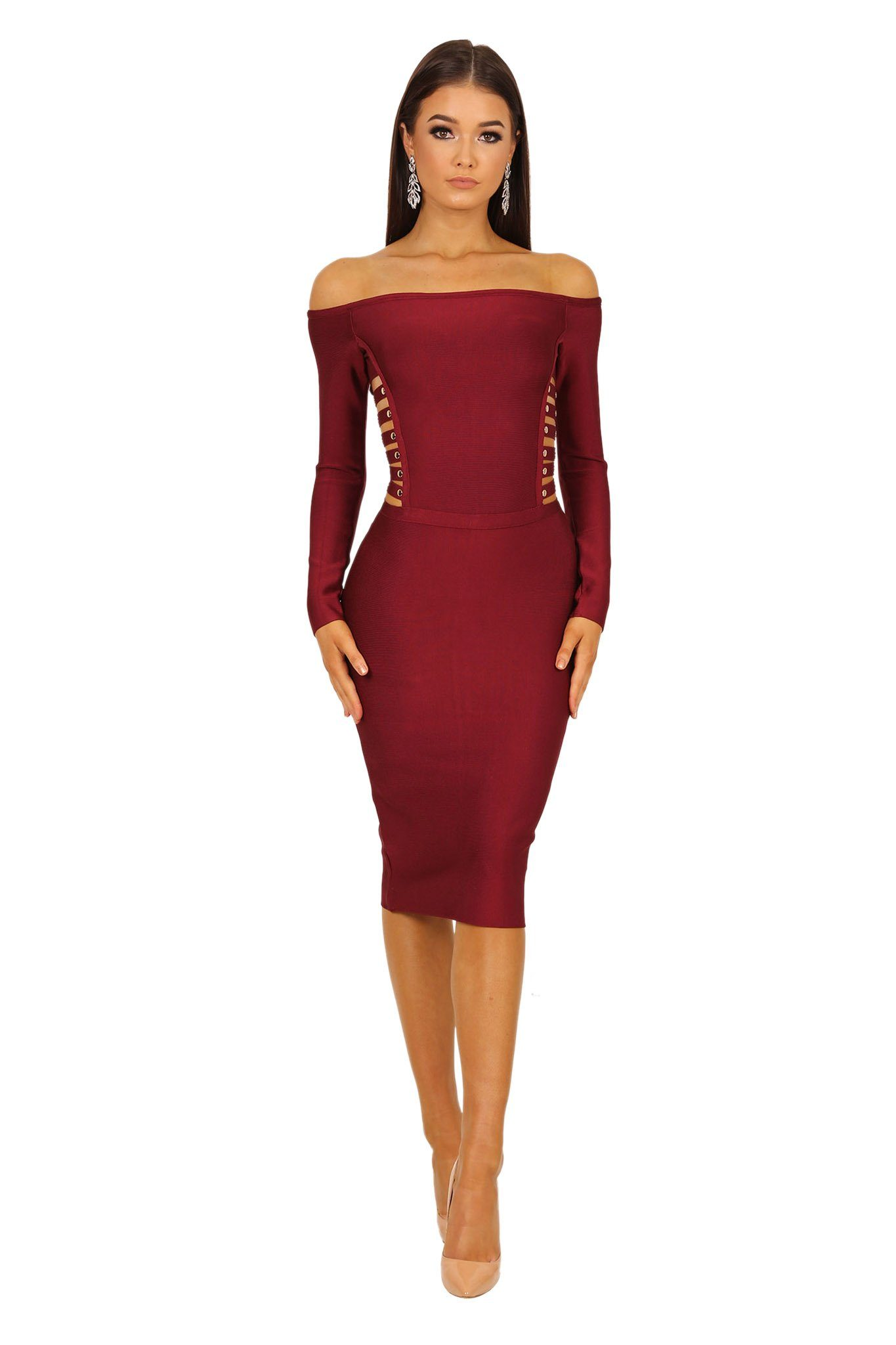 f182e090bcf3 Off-shoulder long sleeve bandage dress with cut out sides and gold buttons  in wine